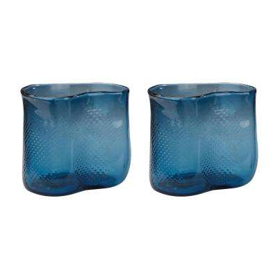 Fish Net 8 in. Glass Decorative Vases in Navy Blue (Set of 2)