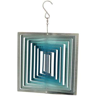 6 in. 3D Ice Blue Square Whirligig Outdoor Wind Spinner with Hook