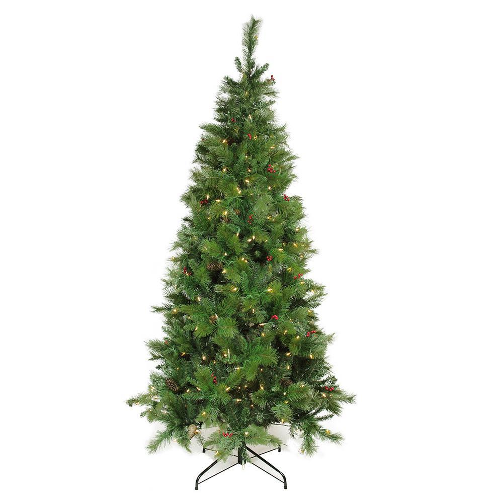 7 ft. Pre-Lit Single Plug Slim Mount Beacon Pine Artificial Christmas Tree Multi-Function LED Lights