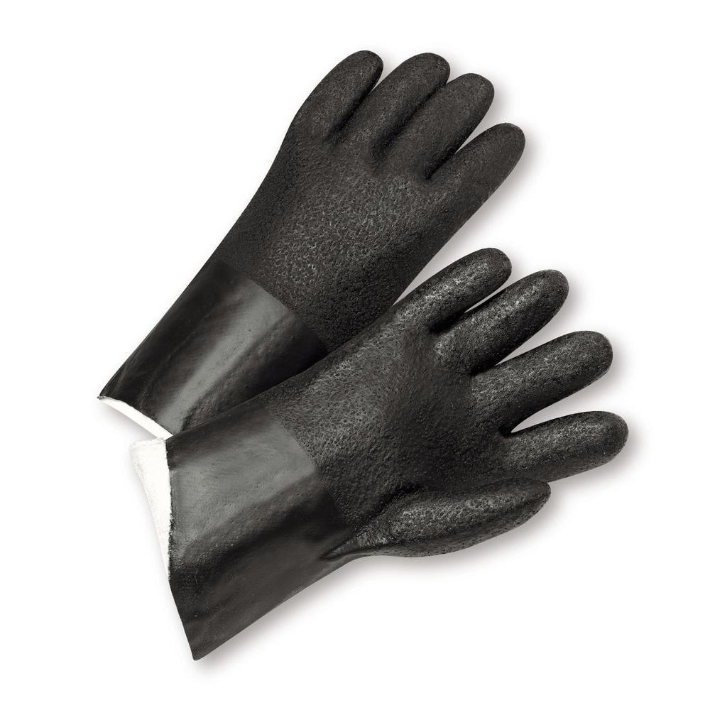 Standard Acid Grip PVC Jersey Lined Gloves - Dozen Pair