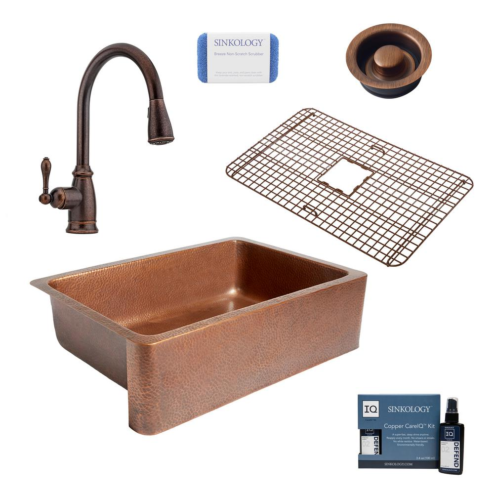 SINKOLOGY Adams All-in-One Farmhouse Copper 33 in. Single Bowl Kitchen Sink with Pfister Rustic Bronze Faucet and Disposal Drain