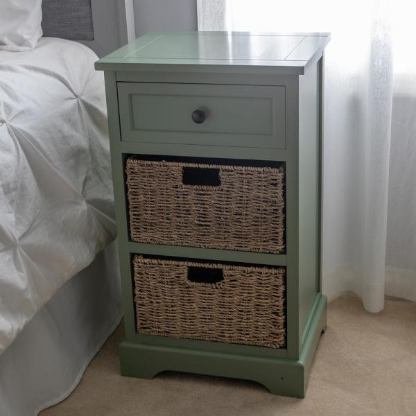 Decor Therapy Montgomery Olive Branch Green 3-Basket Storage End Table FR8666