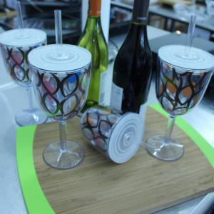 Click here to buy BergHOFF Acrylic Wine Glass with Circle Pattern (Set of 4) by BergHOFF.