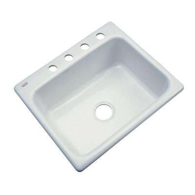 Inverness Drop-In Acrylic 25 in. 4-Hole Single Bowl Kitchen Sink in Ice Grey