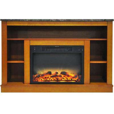 Oxford 47 in. Electric Fireplace with Enhanced Log Insert and Teak Mantel
