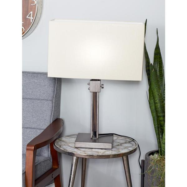 Litton Lane 24 in. Gray Adjustable Table Lamp with White Shade