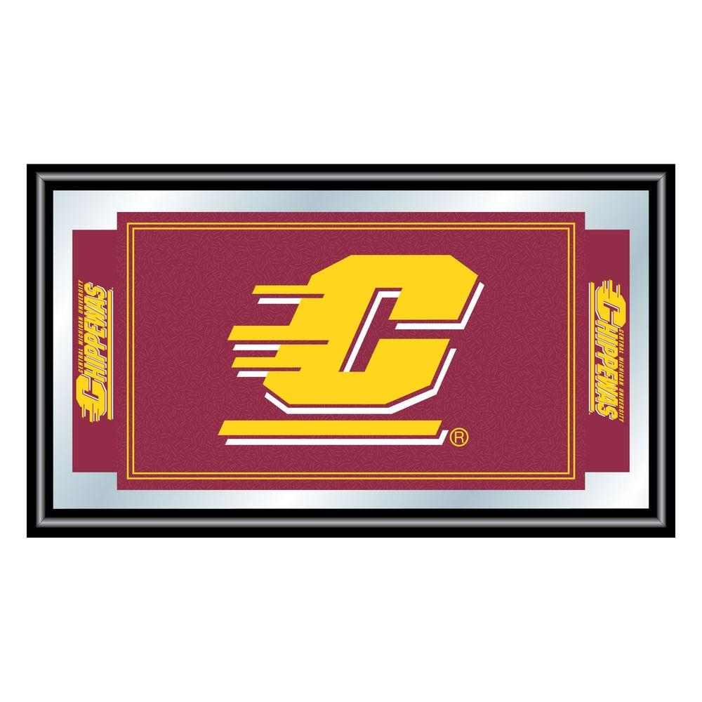 Central Michigan University 15 in. x 26 in. Black Wood Framed
