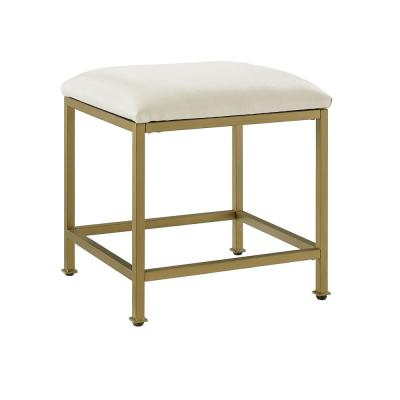 Aimee Soft Gold and Creme Vanity Stool