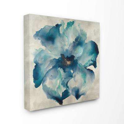"""30 in. x 30 in. """"Dark Misty Blue Watercolor Flower Painting""""by Artist Third and Wall Canvas Wall Art"""