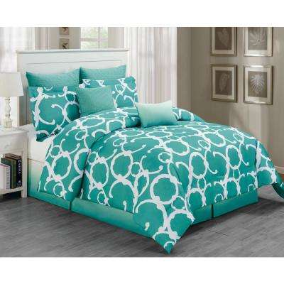 Rhys Dusty Teal 7-Piece Queen Comforter Set