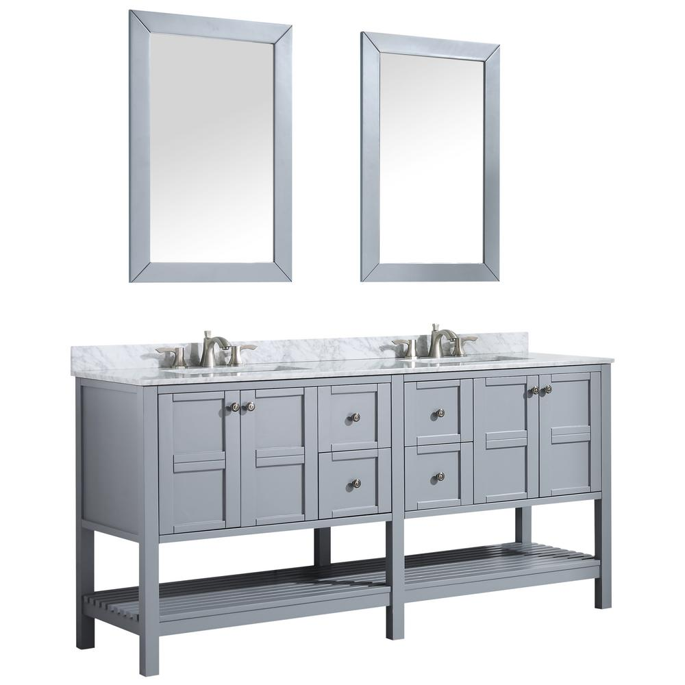 ANZZI Montaigne 72 in. W x 35.75 in. H Bath Vanity in Gray with Marble Vanity Top in Carrara White with White Basin and Mirror