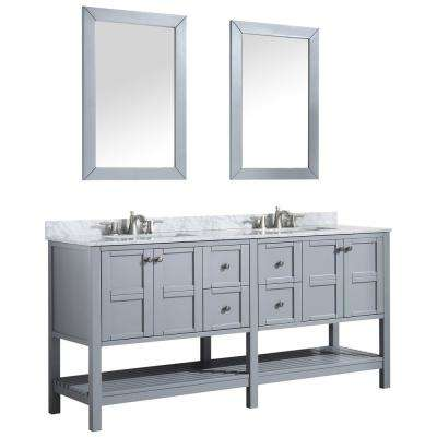 Montaigne 72 in. W x 35.75 in. H Bath Vanity in Gray with Marble Vanity Top in Carrara White with White Basin and Mirror