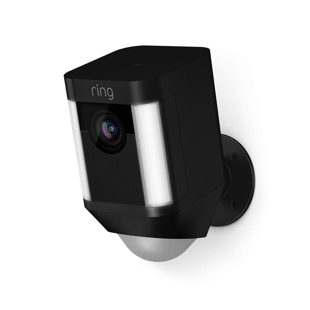 Ring Spotlight Cam Battery Outdoor Rectangle Security Wireless Standard Surveillance Camera In Black