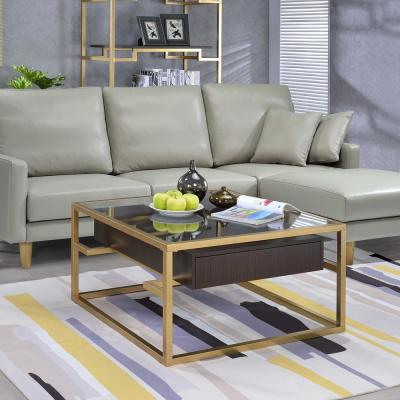 Yumia Gold and Glass Coffee Table