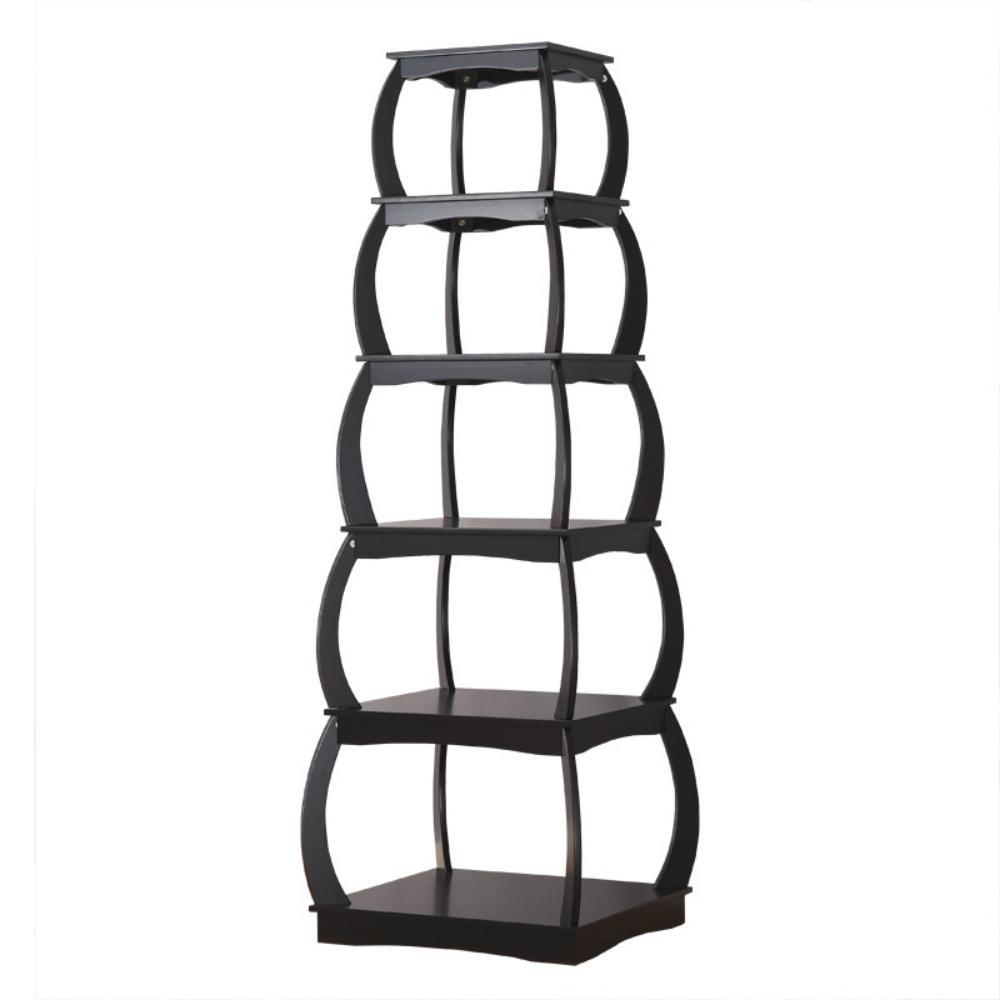 66 in. Black Finish 5-Shelf Corner Ladder Display Bookshelf
