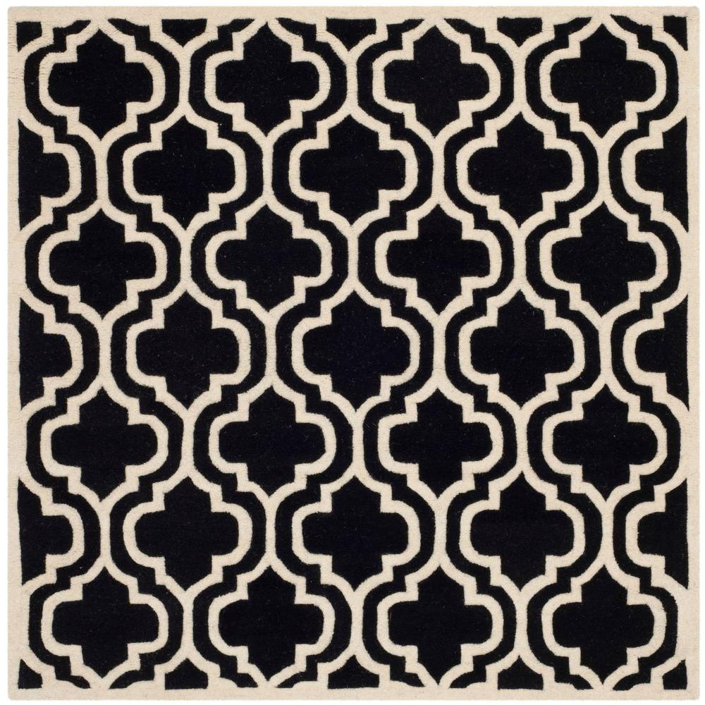 Chatham Black/Ivory 5 ft. x 5 ft. Square Area Rug