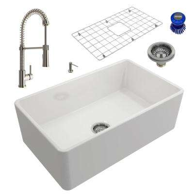 Classico All-in-One Farmhouse Fireclay 30 in. Single Bowl Kitchen Sink with Livenza Brushed Nickel Faucet and Soap Disp