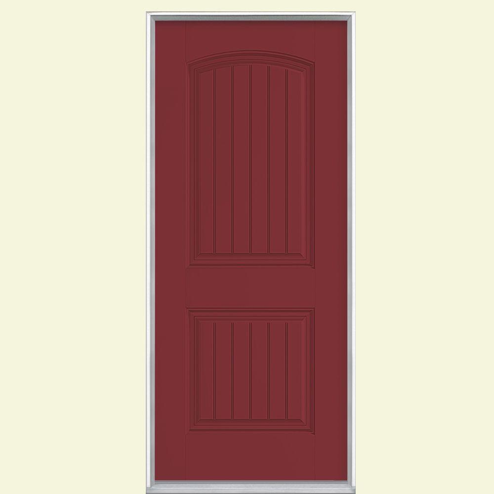 Cheyenne 2 Panel Left Hand Inswing Painted Smooth Fibergl Prehung Front Door No Brickmold 23089 The Home Depot