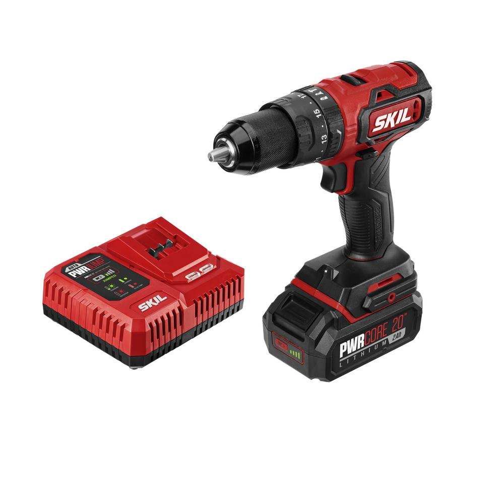 Skil Pwrcore 20 Volt Brushless Cordless 1 2 In Hammer Drill Kit Plus 2 0ah Lithium Ion Battery Usb Plus Pwrjump Charger Hd529402 The Home Depot