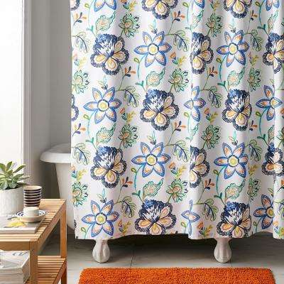 Lofthome Jamison Floral 72 in. Multi Cotton Percale Shower Curtain