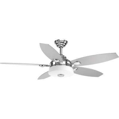 Remote control included chrome ceiling fans lighting the graceful collection 54 in led polished chrome ceiling fan polished chrome mozeypictures Gallery