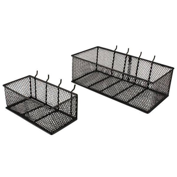 Steel Mesh Pegboard Basket in Black(2-Pack)