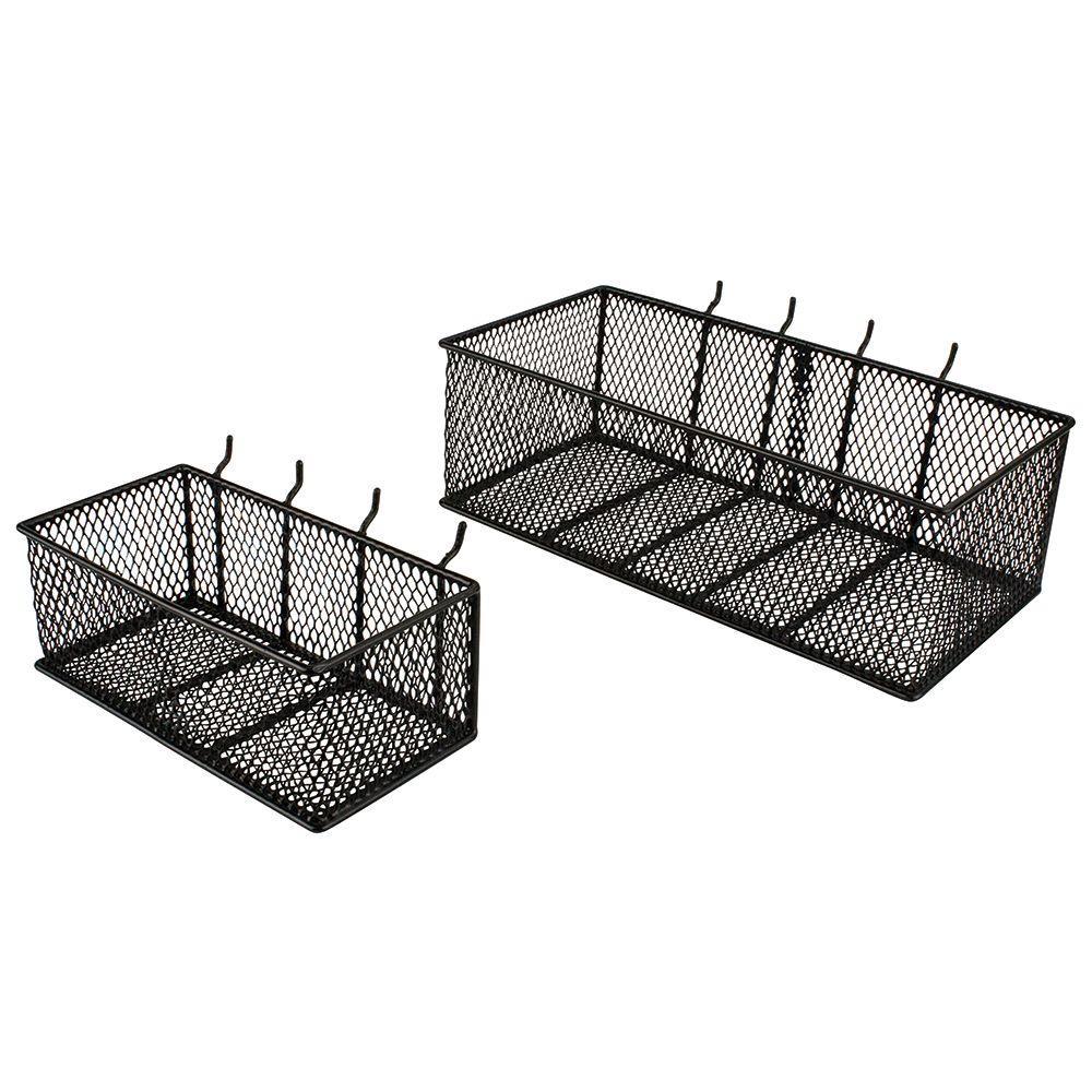 steel mesh pegboard basket in black 2 pack 24265 the home depot. Black Bedroom Furniture Sets. Home Design Ideas