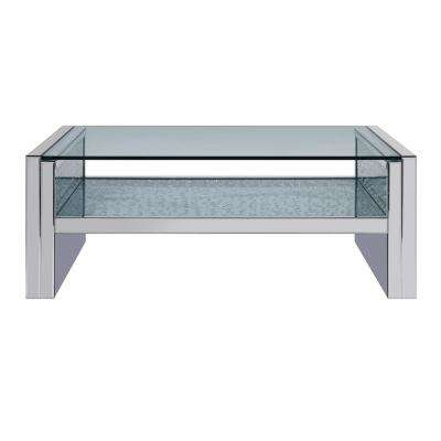 Nysa Mirrored and Faux Crystals Coffee Table