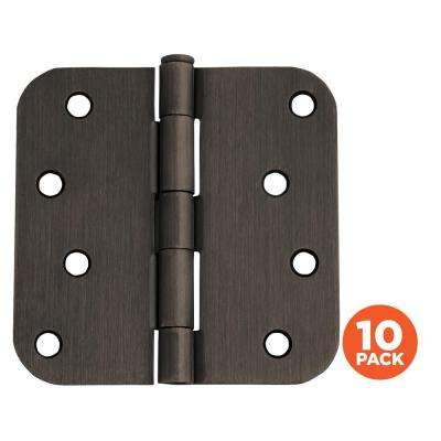 4 in. x 5/8 in. Radius Oil Rubbed Bronze Door Hinge Value Pack (10 per Pack)