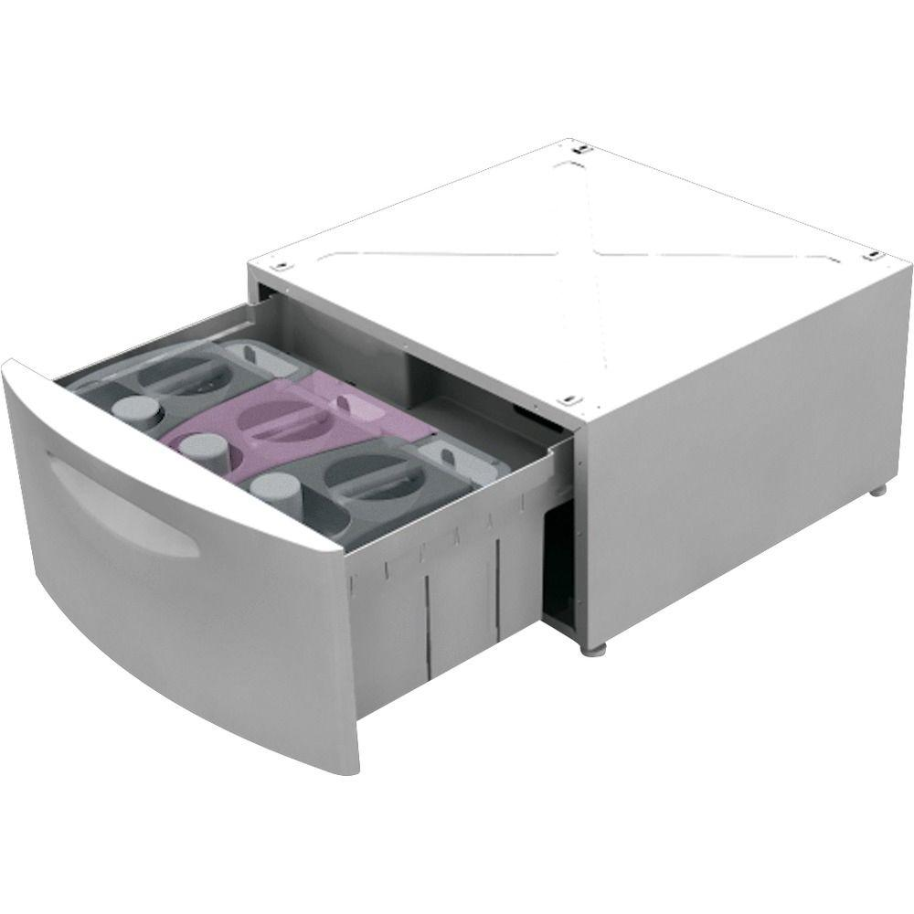 GE SmartDispense Laundry Pedestal with Storage Drawer in White