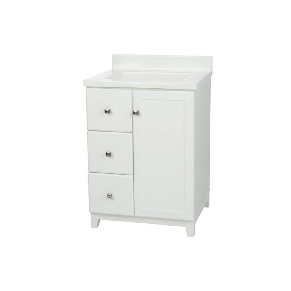 Glacier Bay Shaker 24 In W Vanity In White With Cultured