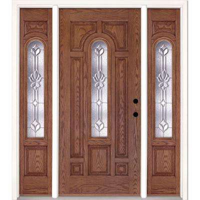 63.5 in.x81.625 in. Medina Zinc Center Arch Lite Stained Medium Oak Left-Hand Fiberglass Prehung Front Door w/ Sidelites