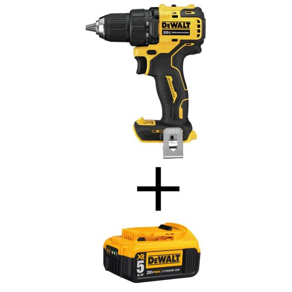 ATOMIC 20-Volt MAX Cordless Brushless Compact 1/2 in. Drill/Driver with (1) 20-Volt 5.0Ah Battery