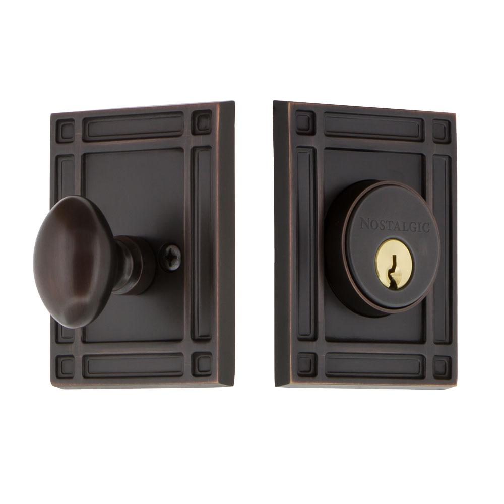 Mission Plate 2-3/8 in. Backset Single Cylinder Deadbolt in Timeless Bronze