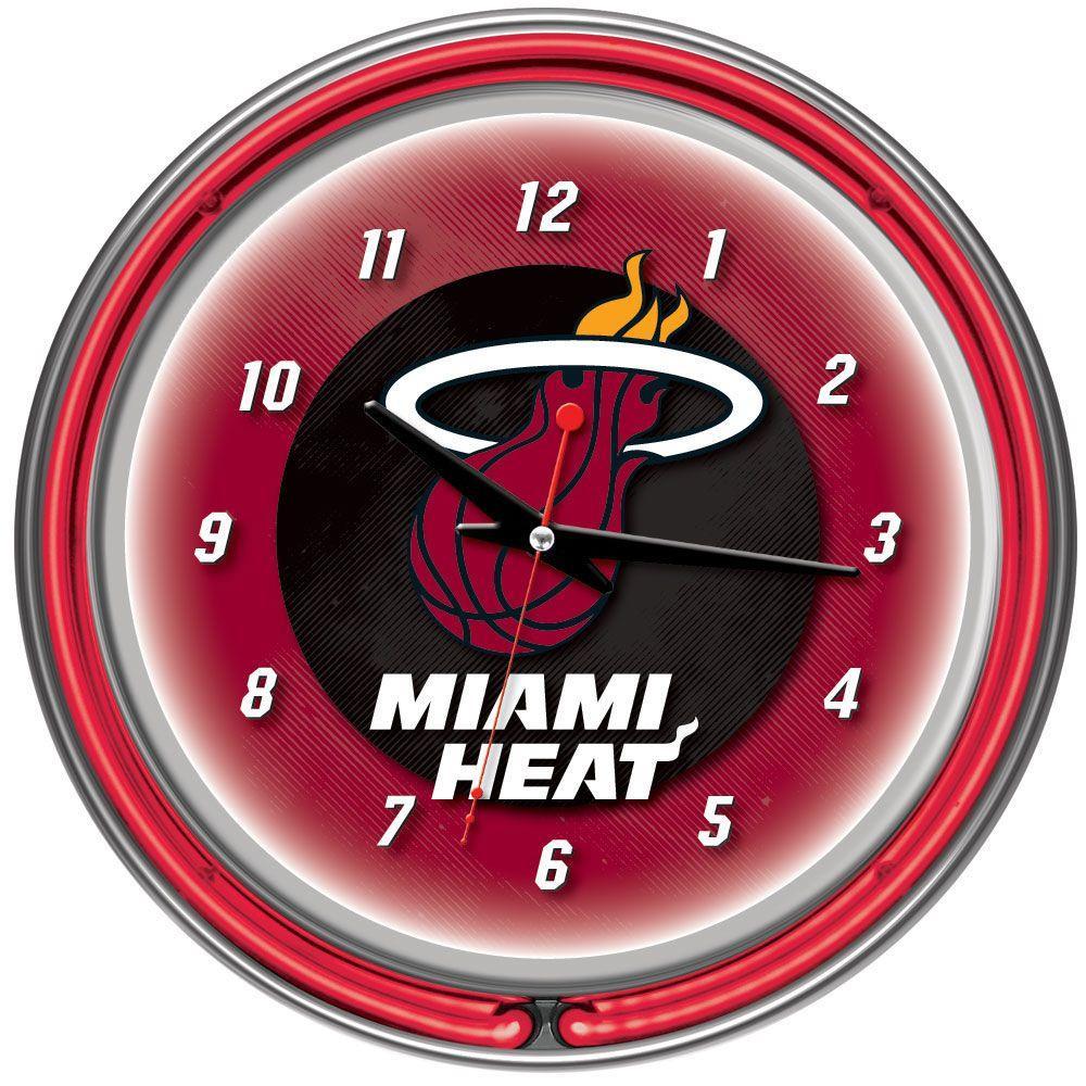 14 in. Miami Heat NBA Chrome Double Ring Neon Wall Clock