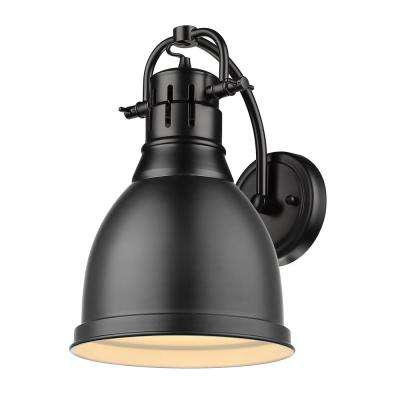 Duncan Collection 1-Light Black Sconce with Matte Black Shade