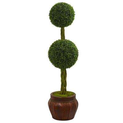 4.5 ft. High Indoor Boxwood Double Topiary Artificial Tree in Decorative Planter