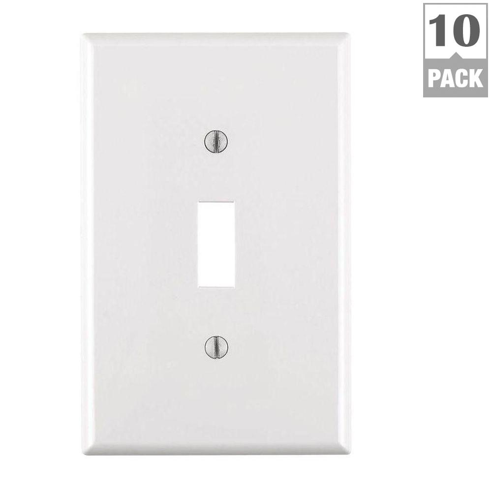 Leviton 1 gang midway toggle nylon wall plate white 10 pack m52 leviton 1 gang midway toggle nylon wall plate white 10 pack sciox Gallery