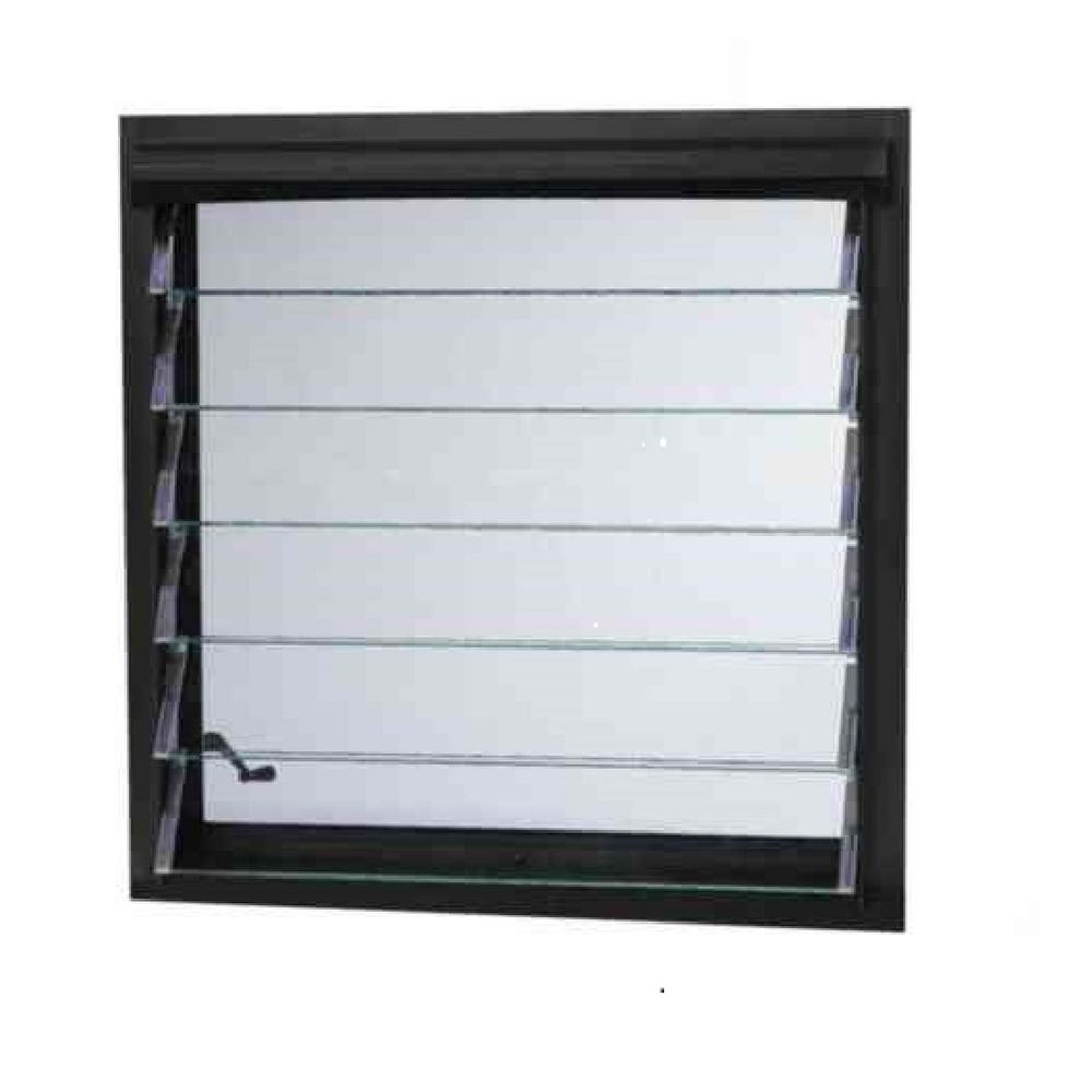 TAFCO WINDOWS 32 in. x 13.875 in. Jalousie Utility Louver Awning Aluminum Screen Window in Bronze