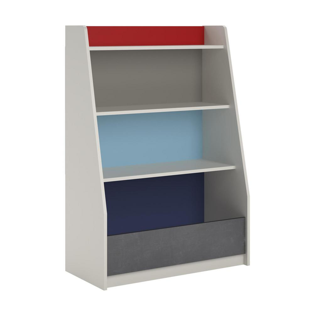Ameriwood Home Grey Blue Red White Storage Bookcase Gray Valentine