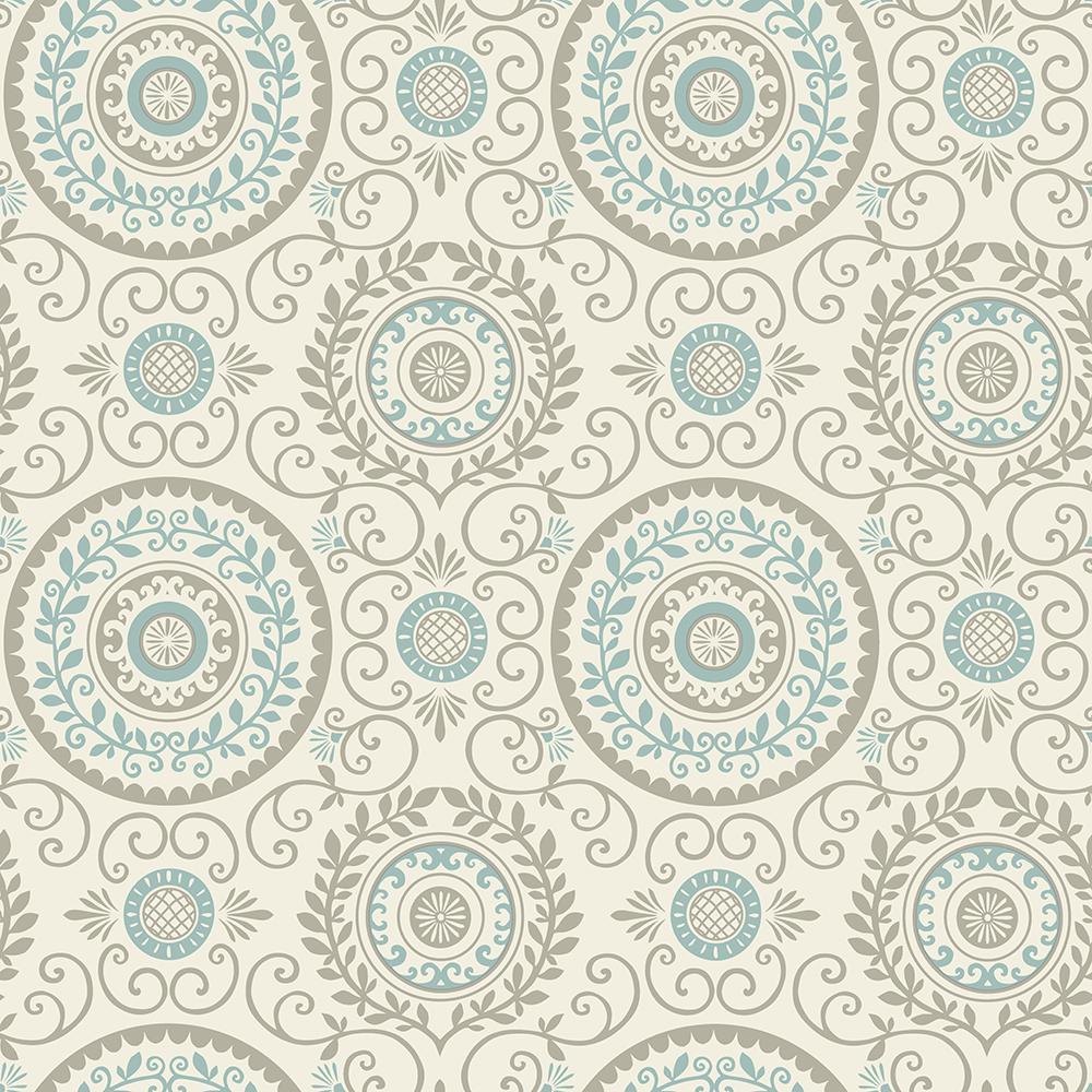 Brewster Annabel Aqua Medallion Wallpaper Sample 2704 81004sam