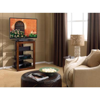 27 in. Carmel Wood TV Stand Fits TVs Up to 32 in. with Cable Management