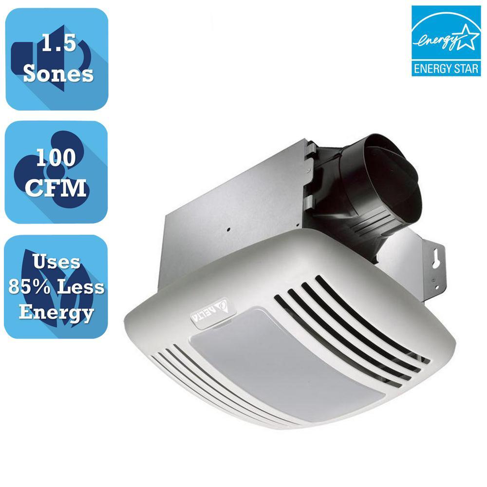 Delta Breez GreenBuilder Series 100 CFM Ceiling Bathroom Exhaust Fan with Light