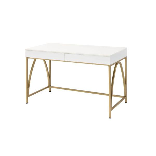 31 in. H x 20 in. W White and Gold Wooden Rectangular Frame Desk with 2-Drawer and Metal Legs