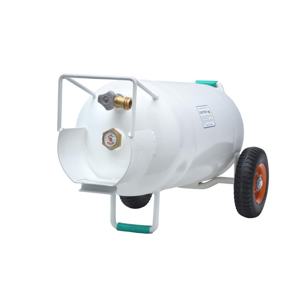 Flame King 40 Lbs Horizontal And Vertical Hog Propane Cylinder With Wheels Ysn40hog The Home Depot