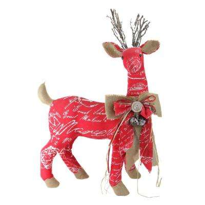 24 in. Country Rustic Red White and Brown Reindeer with Bow Christmas Decoration