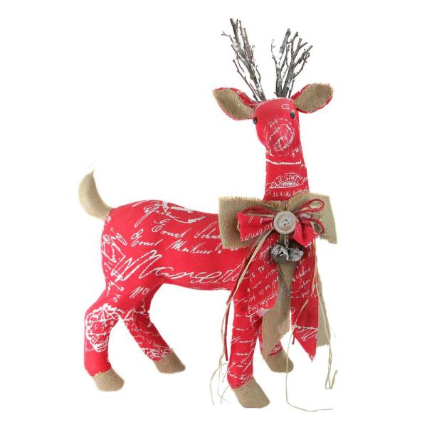 Northlight 24 In Country Rustic Red White And Brown Reindeer With Bow Christmas Decoration 32633972 The Home Depot