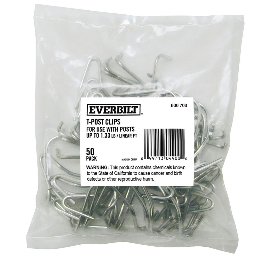 Galvanized Steel Fence T-Post Clips (50 per Bag)