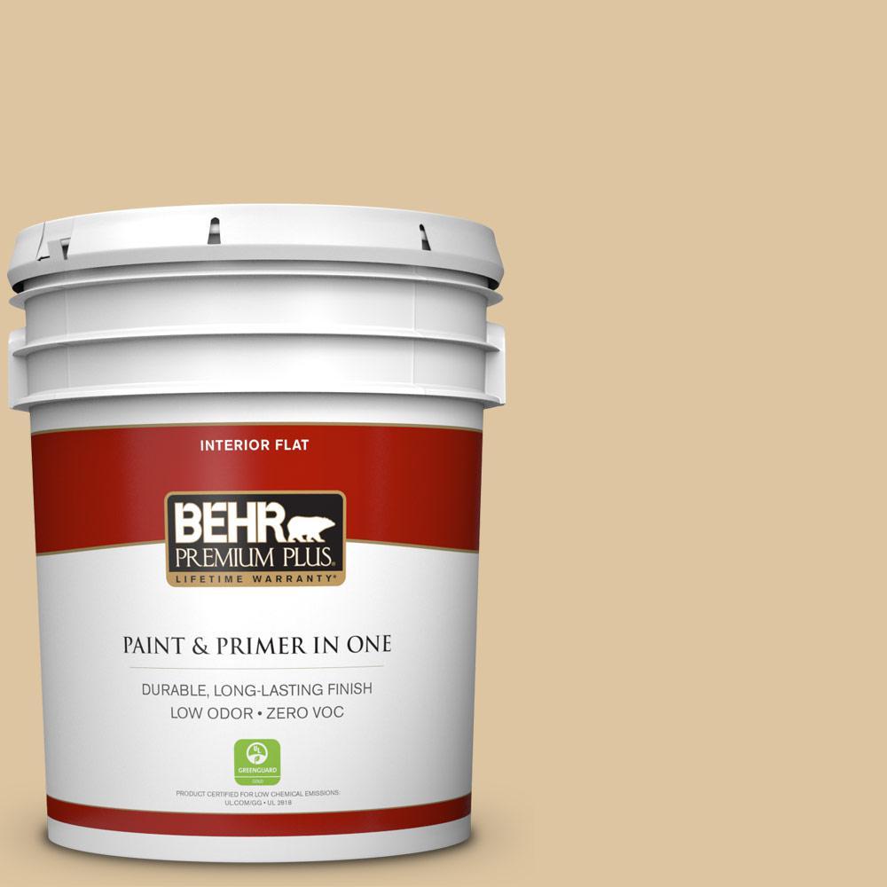 BEHR Premium Plus 5-gal. #320E-3 Riviera Sand Zero VOC Flat Interior Paint