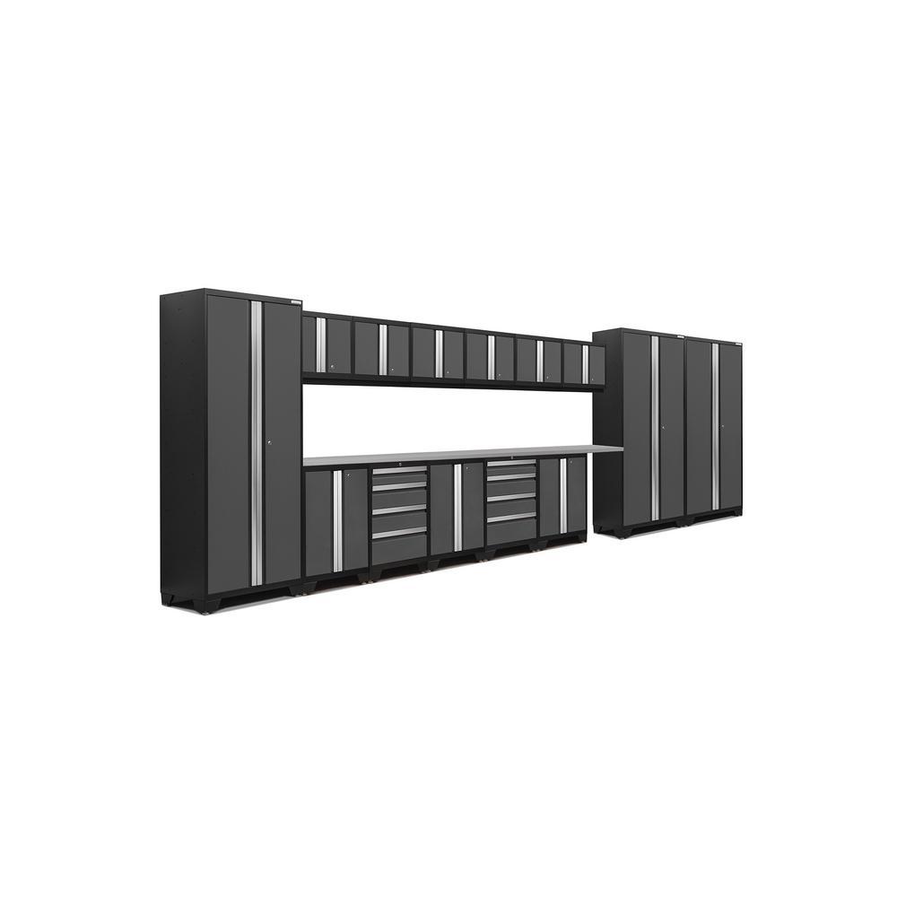 Bold 3.0 77 in. H x 234 in. W x 18 in. D 24-Gauge Welded Steel Stainless Steel Worktop Cabinet Set in Gray (16-Piece)